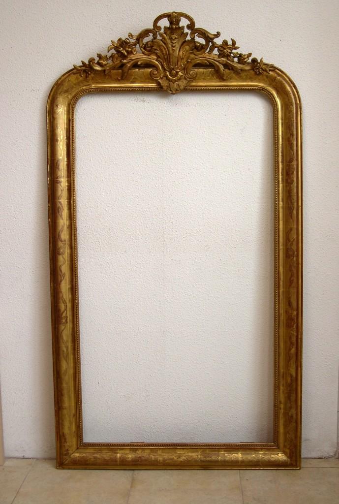 Marco dorado con espejo for Espejo con marco de espejo